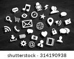 social media concept drawing on ... | Shutterstock . vector #314190938
