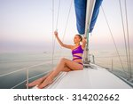 girl makes selfie on the yacht. ... | Shutterstock . vector #314202662