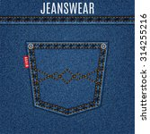 jeans blue texture with pocket... | Shutterstock .eps vector #314255216