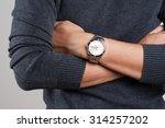 Closeup Luxury Watch On Wrist...