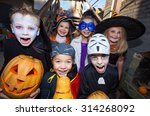 children in halloween costumes... | Shutterstock . vector #314268092