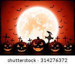 halloween night with moon and... | Shutterstock . vector #314276372