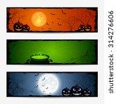 halloween banners with pumpkins ...   Shutterstock . vector #314276606