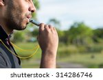 side view of referee blowing... | Shutterstock . vector #314286746