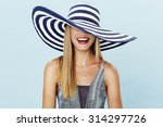 Laughing Blond Woman In Summer...