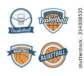 set of basketball vintage...   Shutterstock .eps vector #314308535