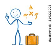 Stick Man And Blue Suitcase....