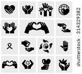 charity vector icons set on... | Shutterstock .eps vector #314329382