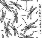 dragonflies seamless vector... | Shutterstock .eps vector #314331986