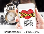 hand holding mobile with... | Shutterstock . vector #314338142