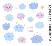 cute vector set of clouds icons.... | Shutterstock .eps vector #314346905