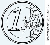 one euro coin. isolated on blue ...   Shutterstock .eps vector #314353172