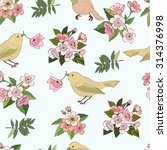seamless pattern with birds and ... | Shutterstock .eps vector #314376998