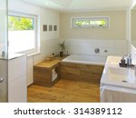 modern bathroom with wooden... | Shutterstock . vector #314389112
