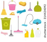 vector set of cleaning tools. | Shutterstock .eps vector #314424092
