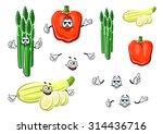 cartoon red bell pepper  green... | Shutterstock .eps vector #314436716