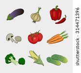 drawing isolated vegetables.... | Shutterstock .eps vector #314471396