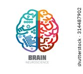 left   right human brain... | Shutterstock .eps vector #314487902