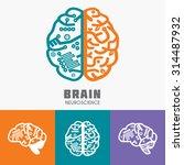 left   right human brain... | Shutterstock .eps vector #314487932