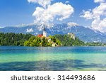 Small photo of Bled with lake, island and mountains in background, Slovenia, Europe