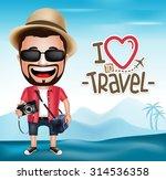 3d realistic tourist man... | Shutterstock .eps vector #314536358