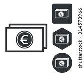 euro banknote icon set ...