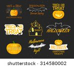 set of vintage happy halloween... | Shutterstock .eps vector #314580002
