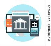 online banking theme  flat... | Shutterstock .eps vector #314584106