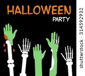 hands zombies and skeletons are ... | Shutterstock .eps vector #314592932