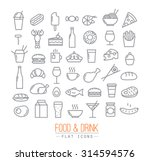 set of flat food icons drawing... | Shutterstock .eps vector #314594576
