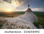man on peak of mountain. nature ... | Shutterstock . vector #314654492