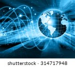 globe and glowing lines on... | Shutterstock . vector #314717948