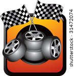 racing tires and checkered... | Shutterstock .eps vector #31472074