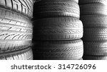 used tires stack in black and... | Shutterstock . vector #314726096