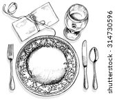 image of a table setting with... | Shutterstock .eps vector #314730596
