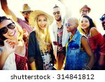 teenagers friends beach party... | Shutterstock . vector #314841812