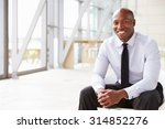 Small photo of Smiling African American businessman, horizontal portrait