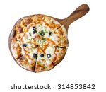 home made spice shrimp pizza in ... | Shutterstock . vector #314853842