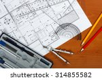 architectural plans  pencils... | Shutterstock . vector #314855582