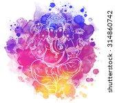 hindu lord ganesha. meditation... | Shutterstock .eps vector #314860742