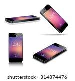 black smart phone vector...   Shutterstock .eps vector #314874476