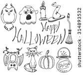 happy halloween   vector set of ... | Shutterstock .eps vector #314893532