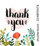 thank you card. vector hand...   Shutterstock .eps vector #314895476