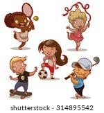 children playing sport  set ... | Shutterstock .eps vector #314895542
