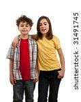 girl and boy standing isolated... | Shutterstock . vector #31491745