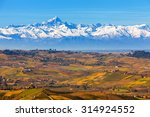 autumnal hills and snowy... | Shutterstock . vector #314924552