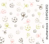 hand drawn cotton flowers... | Shutterstock .eps vector #314926352