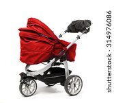red baby stroller isolated on... | Shutterstock . vector #314976086