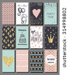 set of hand drawn cute cards... | Shutterstock .eps vector #314998802