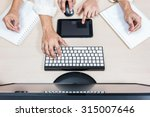 Small photo of hard working asian businessman, male employee hands with computer on workspace desk in office